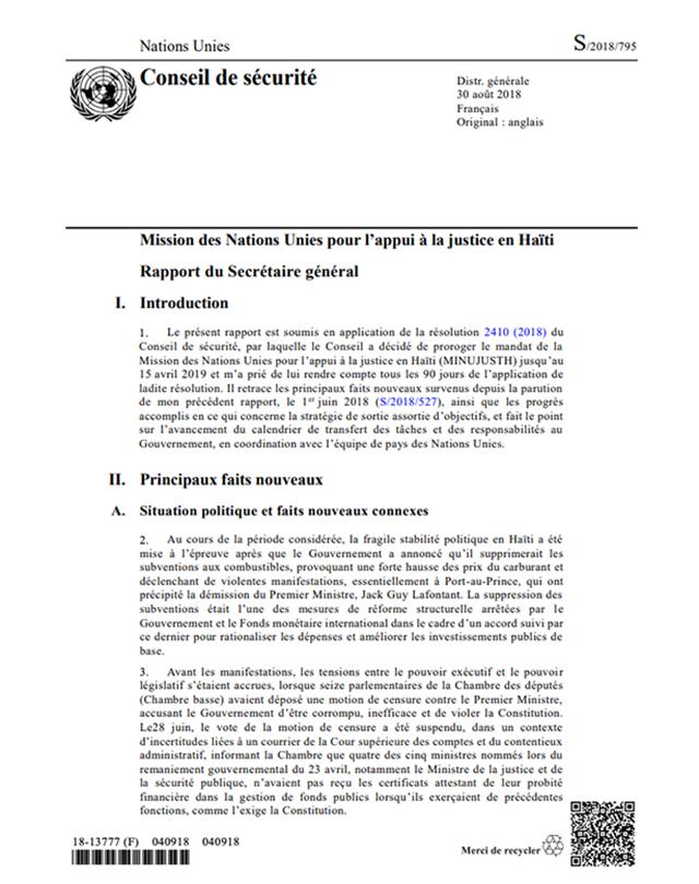 Mission des Nations Unies pour l'appui à la justice en Haïti Rapport du Secrétaire général