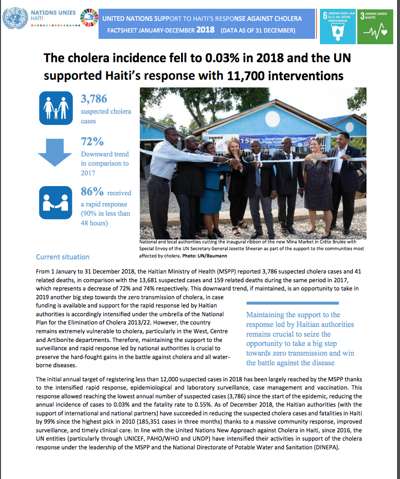 Factsheet annuelle sur la réponse contre le choléra en 2018.