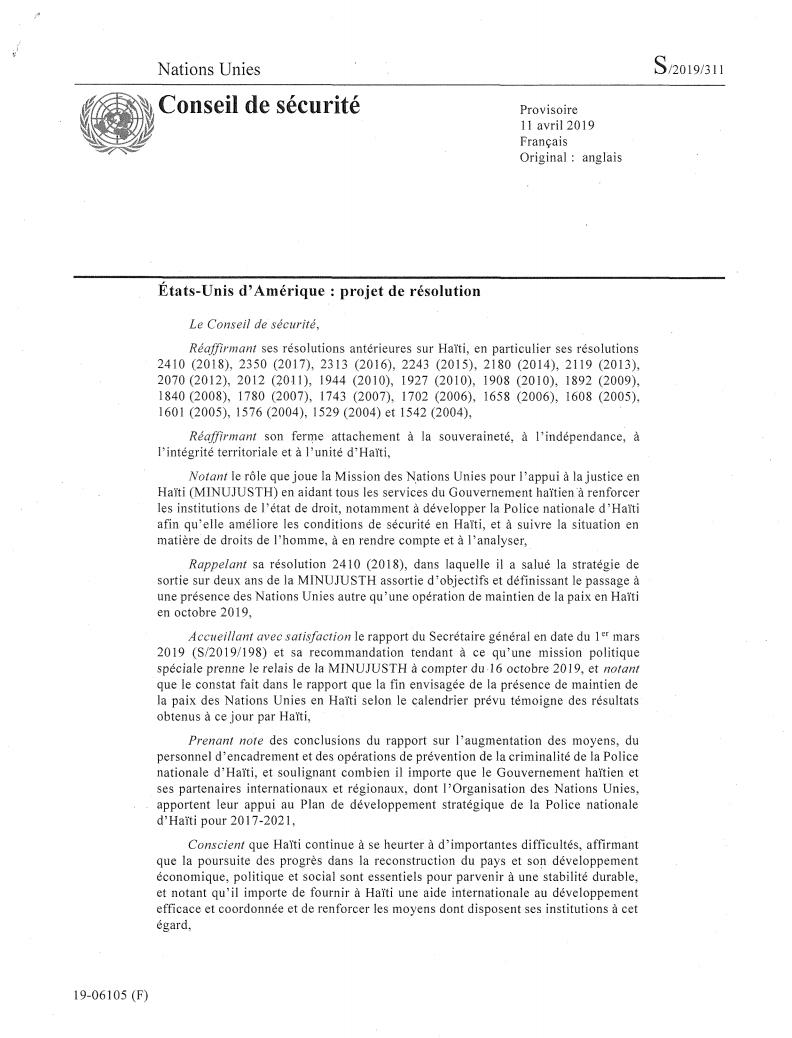 Résolution du Conseil de Sécurité 2466 de 12 Avril 2019 sur la MINUJUSTH