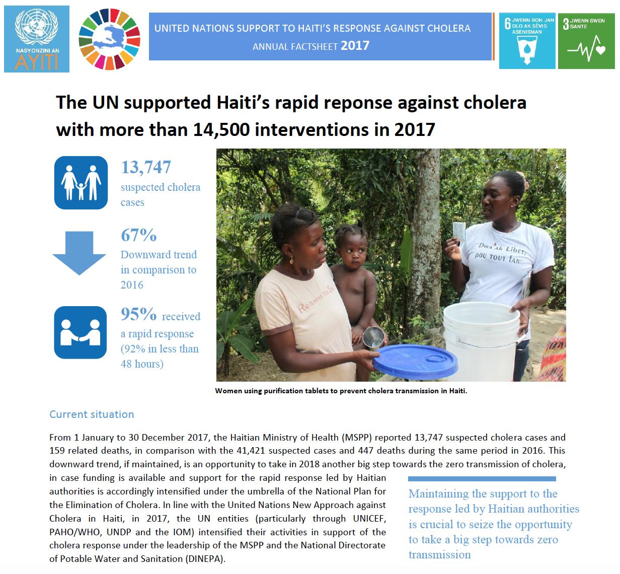 Factsheet sur la lutte contre le choléra en Haiti en 2017