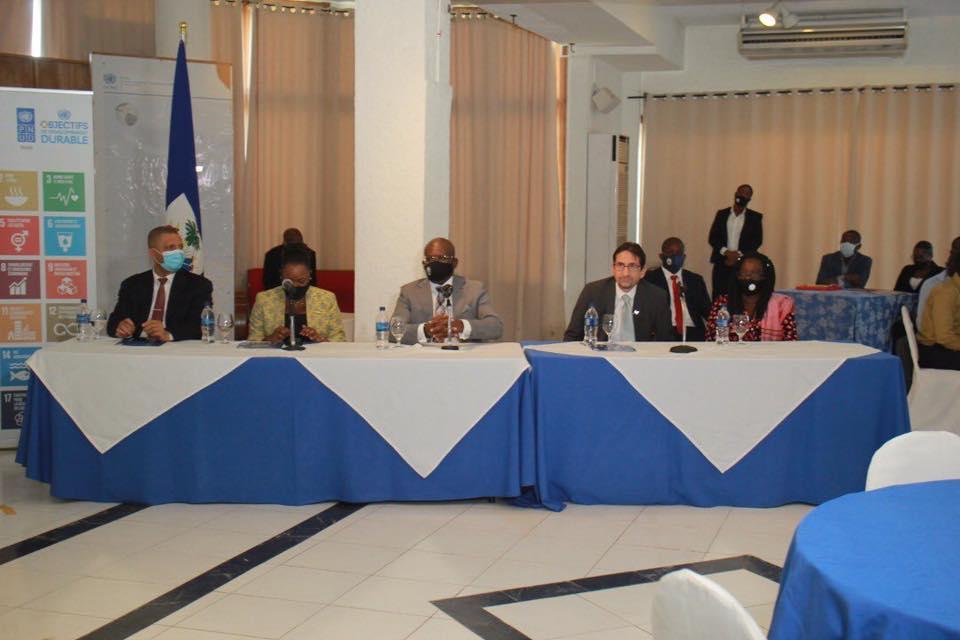 Le Premier Ministre haitien et le Coordonnateur Resident des Nations Unies en Haiti, Bruno Lemarquis a la cloture de la semaine des ODD 2020 en Haiti.