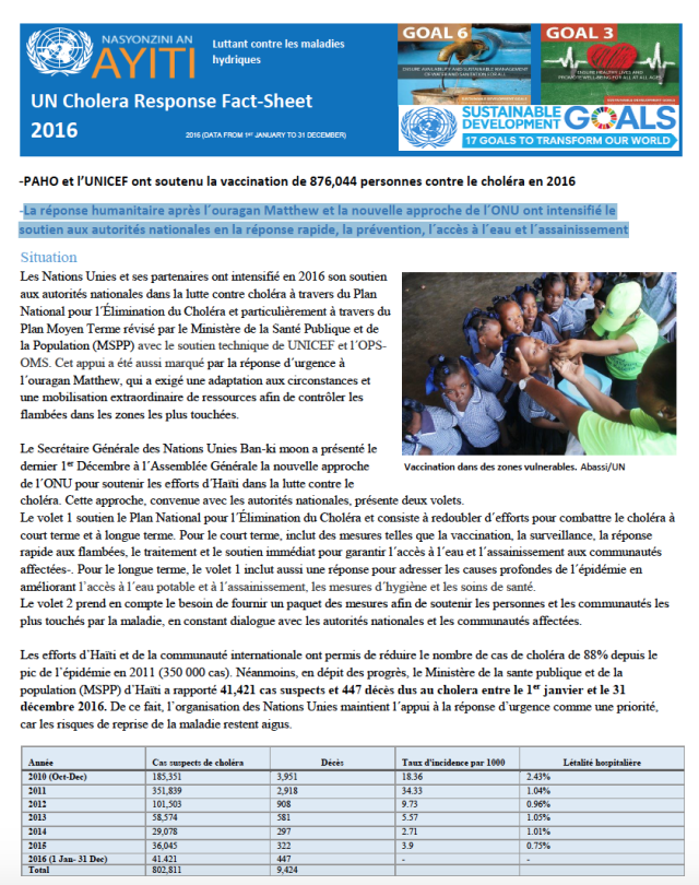Factsheet choléra 2016 Haiti